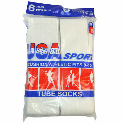 3,6,12 Pairs Men Athletic Sports Cotton Tube Socks Size 9-15 White Black Gray 6