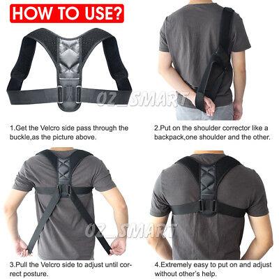 Posture Corrector Adjustable Men Women Shoulder Brace Back Support Strap Belt 6