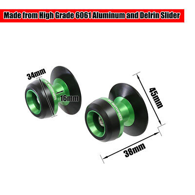 Green Twall Racing M10 Swingarm Spools Sliders For Kawasaki NINJA 650R 05-12 13