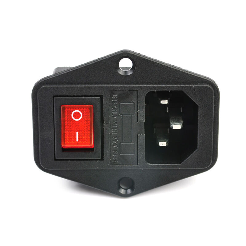 10A 250V 3 Pin IEC320 C14 AC Inlet Male Plug Power Socket With Red Fuse Switch 10