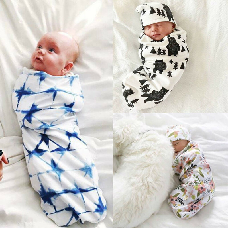 Newborn Baby Boy Cocoon Swaddle Blanket Sleeping Swaddle Muslin Wrap Hat Lovely 2