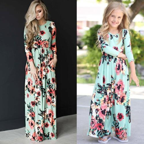 Family Clothes Mother Daughter Dresses Womens Girls Floral Long Maxi Dress 6