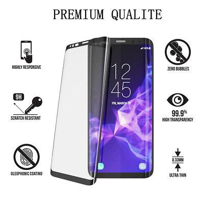 SAMSUNG S8 S9 VITRE VERRE TREMPE 3D Film De Protection Ecran Intégral Total Noir 5