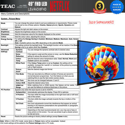 """TEAC 49"""" Inch FHD SMART TV Netflix Youtube Freevie Made In Europe 3Year Warranty 10"""