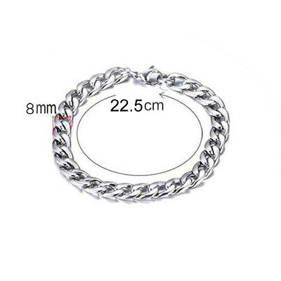 Silver Men's Stainless Steel Link Punk Chain Bracelet Wristband Bangle Jewelry 3