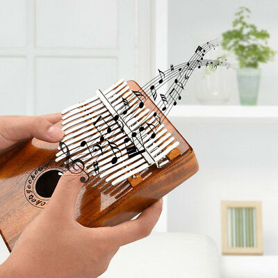 17-Tasten Kalimba Portable Thumb Klavier Mbira Mahagoni Holz Eingebauter +Tasche