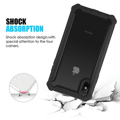 Hybrid Shockproof Heavy Duty Clear Case Fits In iPhone XS Max/XR/X/6/6s/7/8 Plus 7