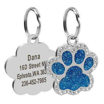 Bling Personalized Pet Dog Cat ID Tag Bone/Paw/Round Shape Collar Engraved Free 8