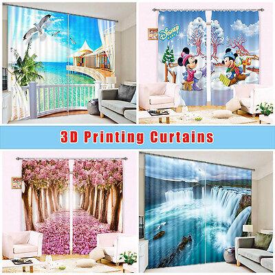 3D Moon Flowers Sea 53 Blockout Photo Curtain Printing Drapes Fabric Window CA