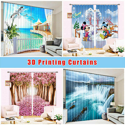 3D Snowman Bird Blockout Photo Curtain Printing Curtains Drapes Fabric Window CA