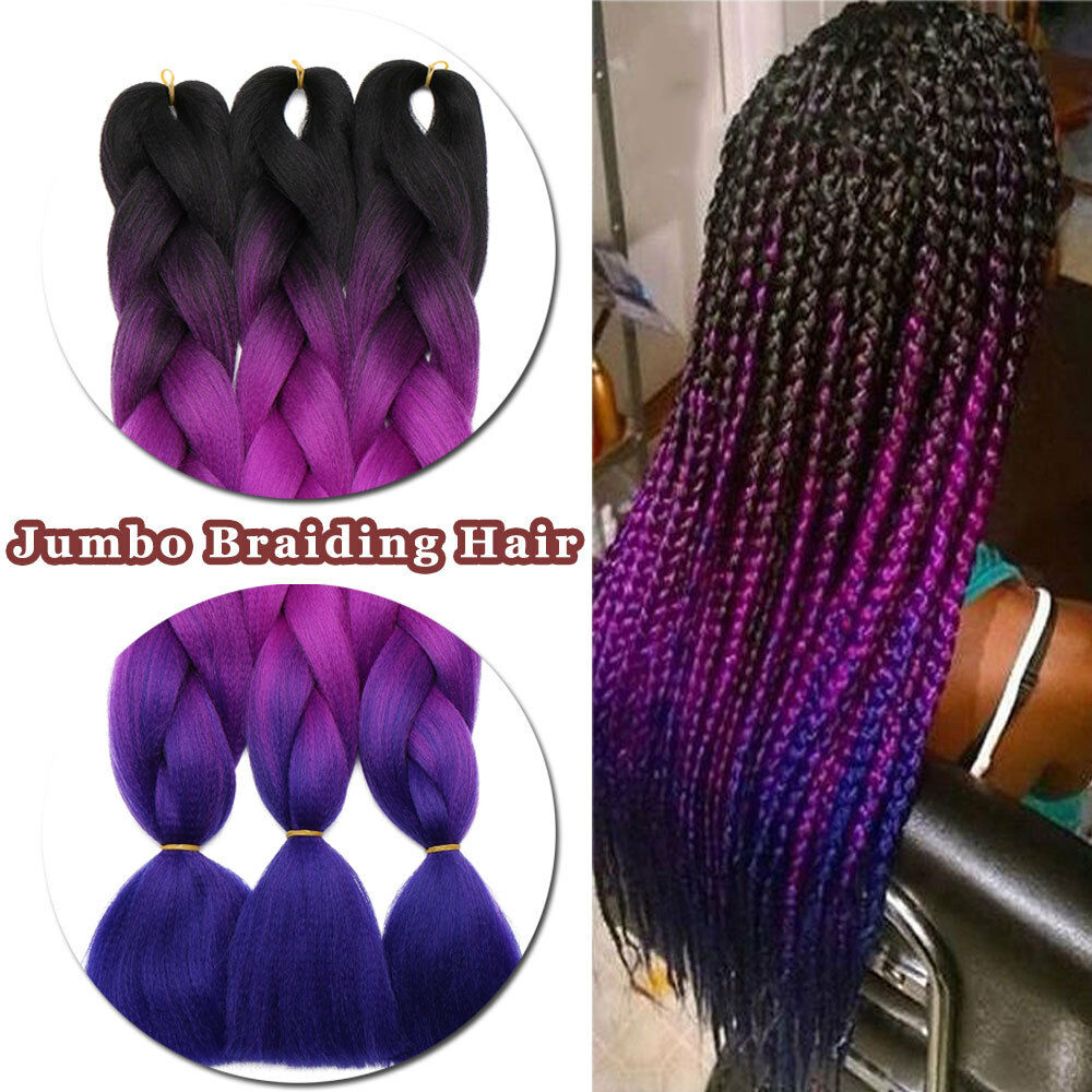 "5 Bundles 24"" 100g Ombre Xpression Jumbo Braiding Afro Hair Extensions as human 2"
