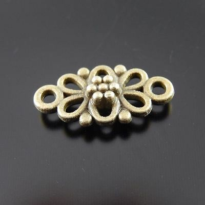 30X Vintage Style Bronze Tone Flower Hollow 10*8*2mm Pendant Charms Findings 3