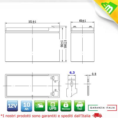 Batteria Ermetica Ricaricabile Al Piombo 12V 12 Volt 10Ah 9 Ah 9Ampere Per Ups 2