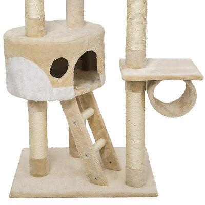 Arbre à chat griffoir grattoir jouet animaux douillet geant peluché beige blanc