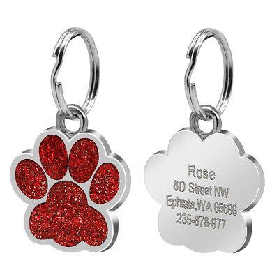 Round Bone Paw Print Custom Personalized Dog Tags Disc Free Engraved Cat ID Tag 6