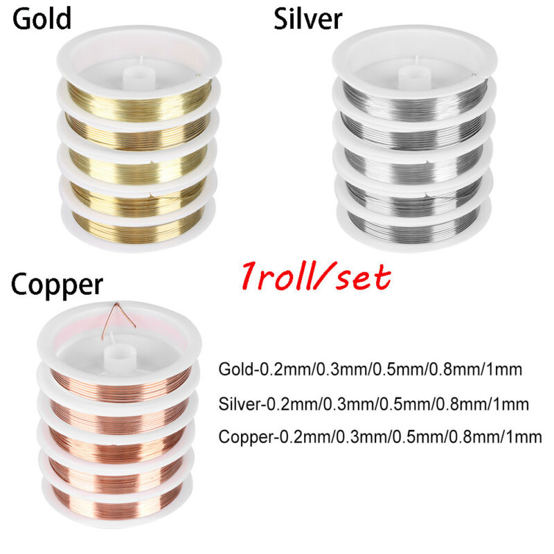 1 x Pale Gold Plated Copper 1mm x 4m Round Craft Wire Hanging Reel X1220
