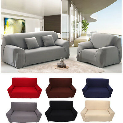 Solid Modern Stretch Chair Sofa Cover 1 2 3 4 Seater Couch Elastic Slipcover US 5