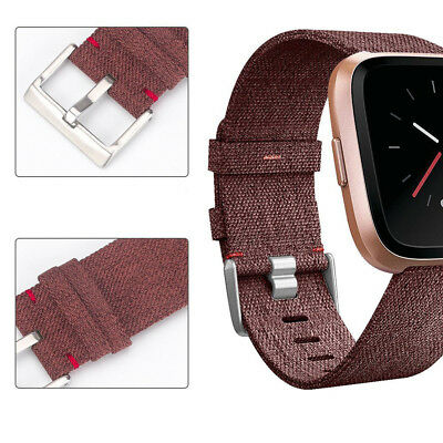 Woven Fabric Strap Wrist Band for Fitbit Versa Tracker w/ Stainless Metal Clasp 6