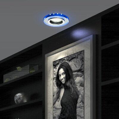 2x Decken Einbau Strahler blau Arbeits Zimmer Deko LED Spot Lampen Glas Leuchten