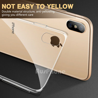 iPhone X XS Max XR 8 7 Shockproof Slim Crystal Clear  Hard Case Cover For Apple 7