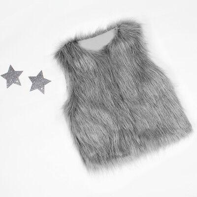 Baby Girls Kid Winter Faux Fur Waist Gilet Jacket Outwear Vest Coat Waistcoat AE 8