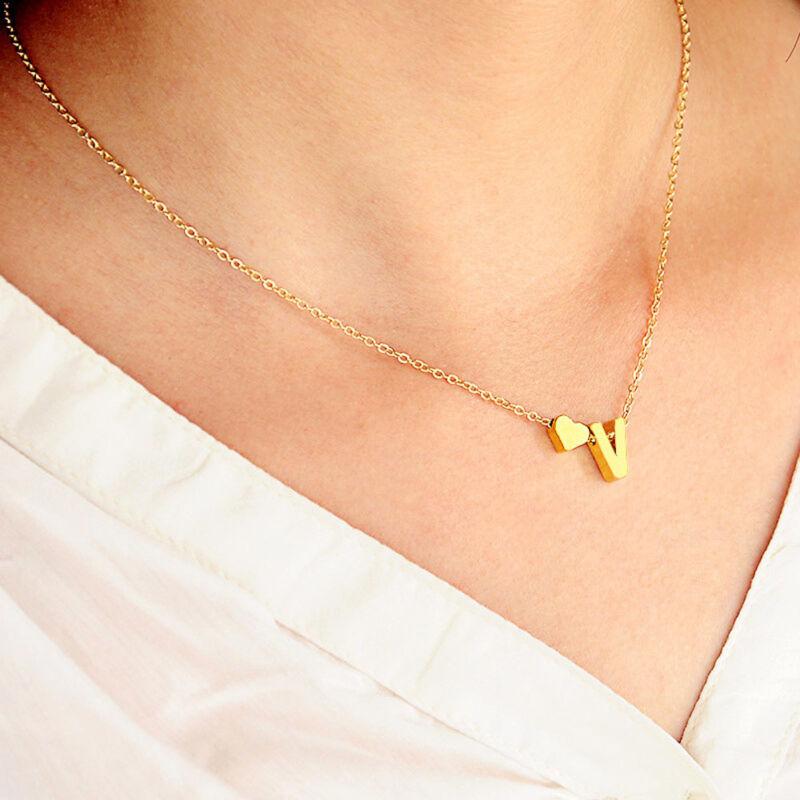 Mujer Collar De Cadena Gargantilla Colgante corazón 26 letras Joyería 8