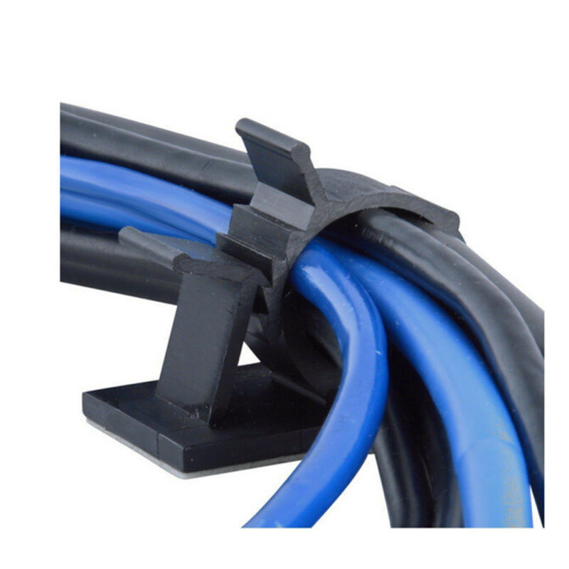 Lot 10pcs Cable Clips Adhesive Cord Management Black Wire Holder Organizer Clamp 3