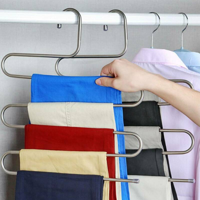 1-10pcs Pants Clothes Hangers Trousers S Type Layer Holder Scarf Tie Towel Rack 2