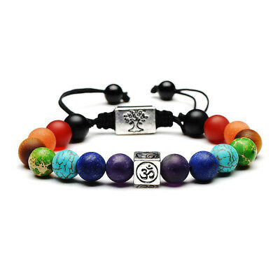 7 Chakra Yoga Natural Stone Beaded Cubic Tree Of Life&3D Charm Braided Bracelet 10