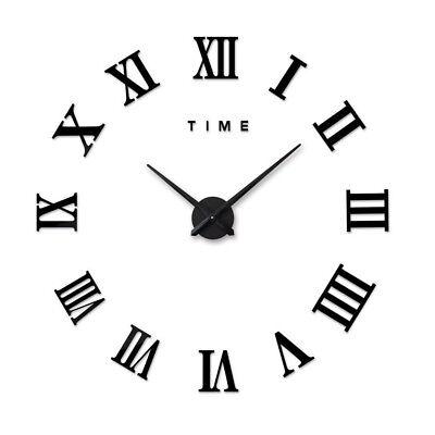 DIY 3D Large Wall Clock Roman Numeral Metallic Mirror Stick On Clock Home Decor 2