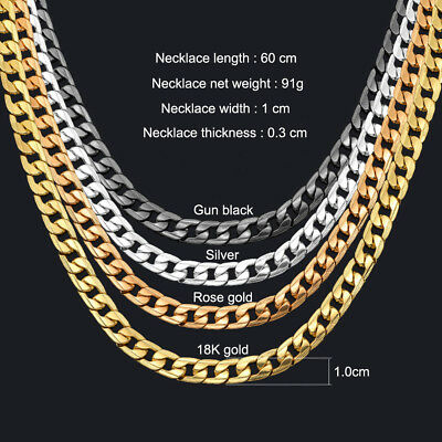Curb Chain Necklace For Men 24 10mm Black Silver Rose 18k Gold Plated Cuban 7 49 Picclick
