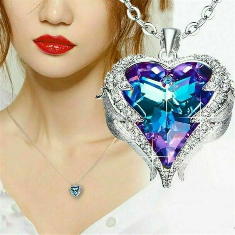 925 Silver Angel Wing Necklace Heart Rhinestone Crystal Chain Pendant Jewelry 2