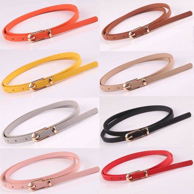 Faux Leather Belts Thin Skinny Waistband Adjustable Belt Women Dress Strap SALE 6