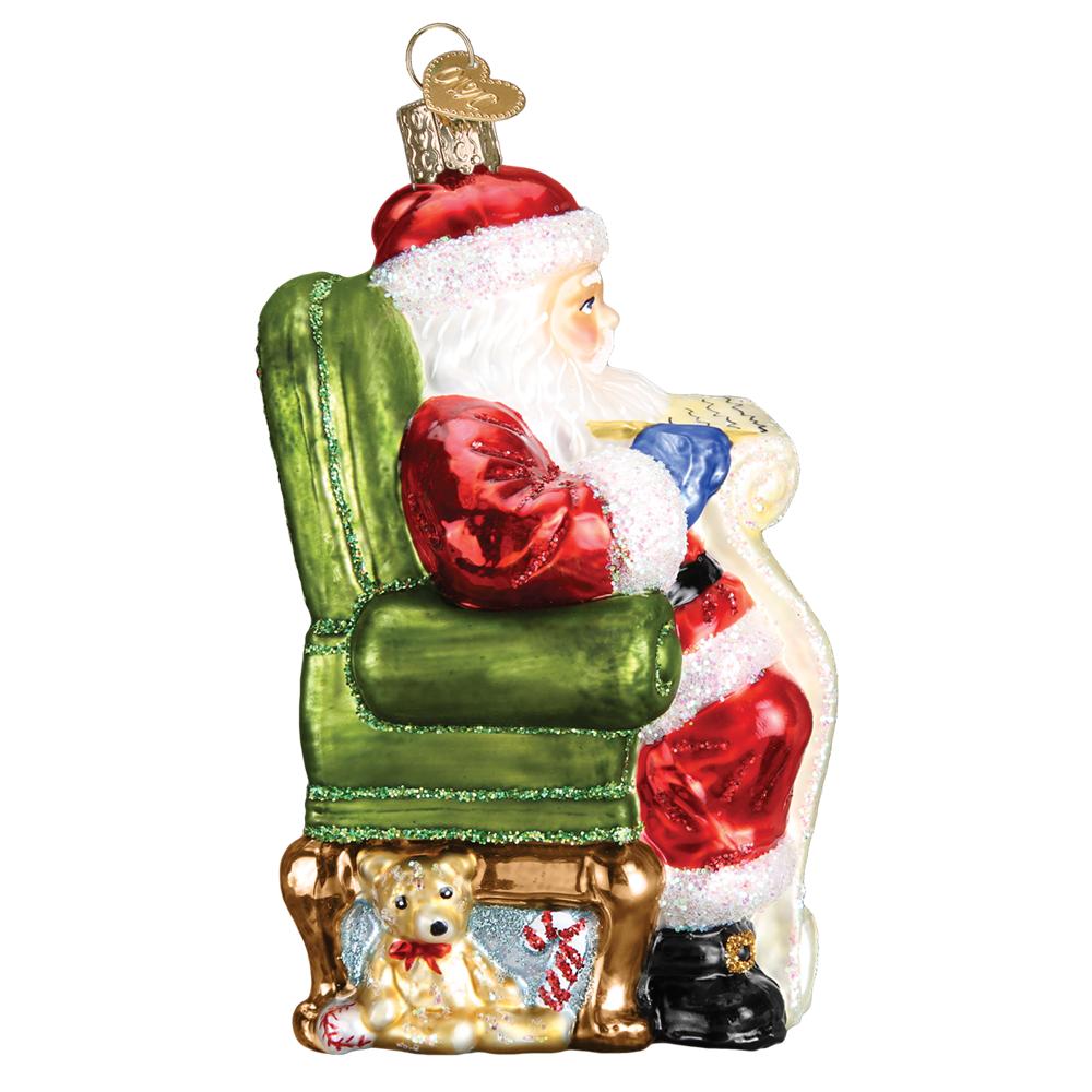 """Santa Checking His List"" (40300)X Old World Christmas Glass Ornament w/Box 3"