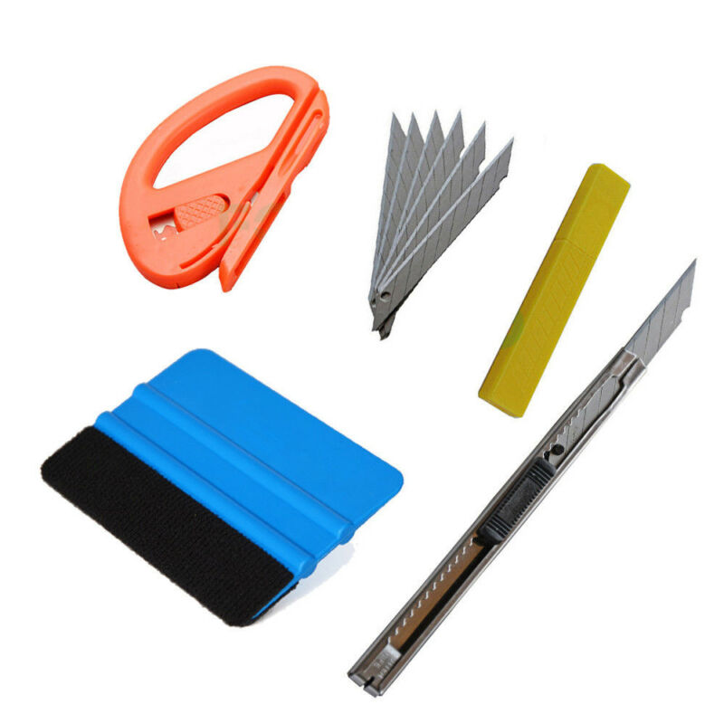 Car Vinyl Wrap Tool 3M Felt Squeegee Carbon Fiber Knife Blade Window Tint Kit PG 9