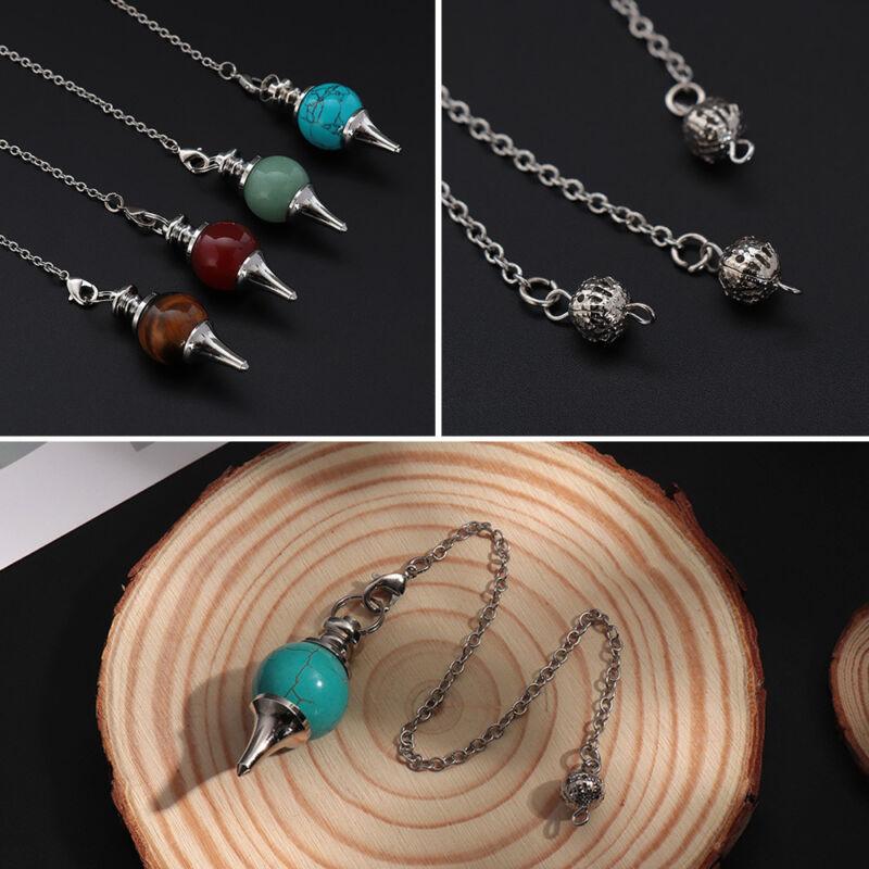 Balance Reiki Natural Stone Crystal Pendulum Circular Cone Charm Pendant~ 3