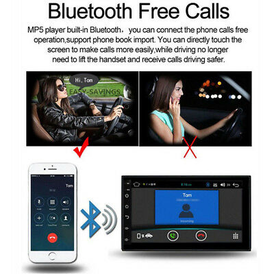 """Android 8.1 Car Stereo GPS Navigation Radio Player Double Din WIFI 7"""" 4"""