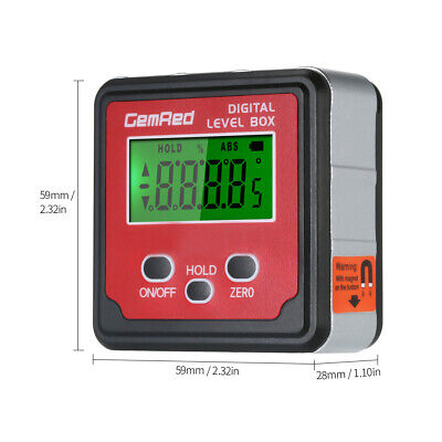 GemRed Mini LCD Level Box Angle Gauge Digital Finder Inclinometer Magnetic Base 9