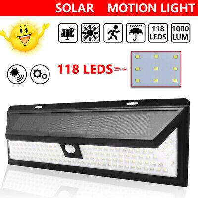 118LED Solar Powered PIR Motion Sensor Wall Security Light Lamp Garden Outdoor Z 2