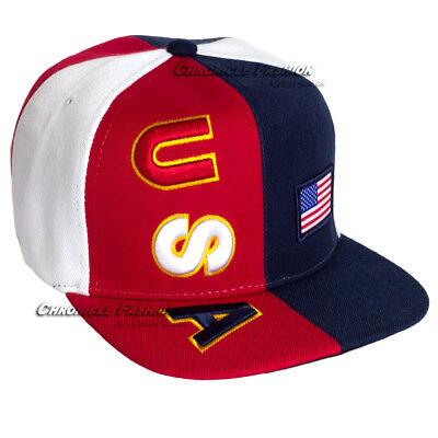 USA BASEBALL CAP American Flag Hat Embroidered Snapback Flat Bill America  Hats