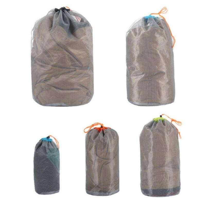 Ultra Light Mesh Stuff Sack Storage Drawstring Bag For Travel Camping Hiking HOT
