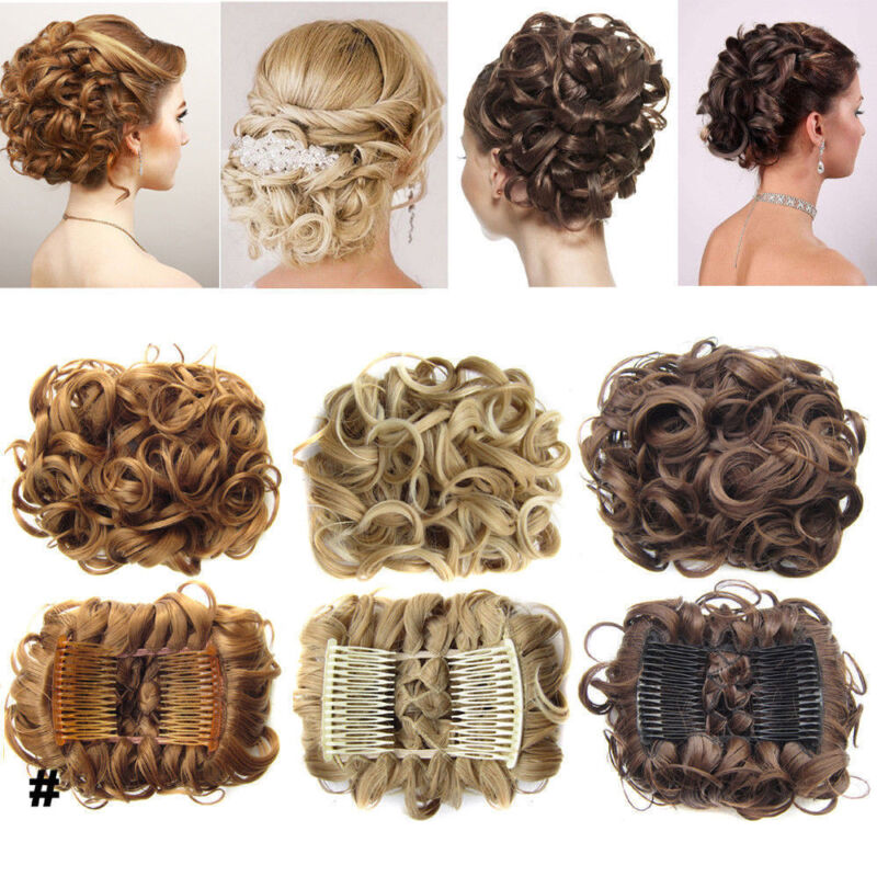 Uk Elegant Updo Combs Clip In Messy Bun Curly Ponytail Top Hair