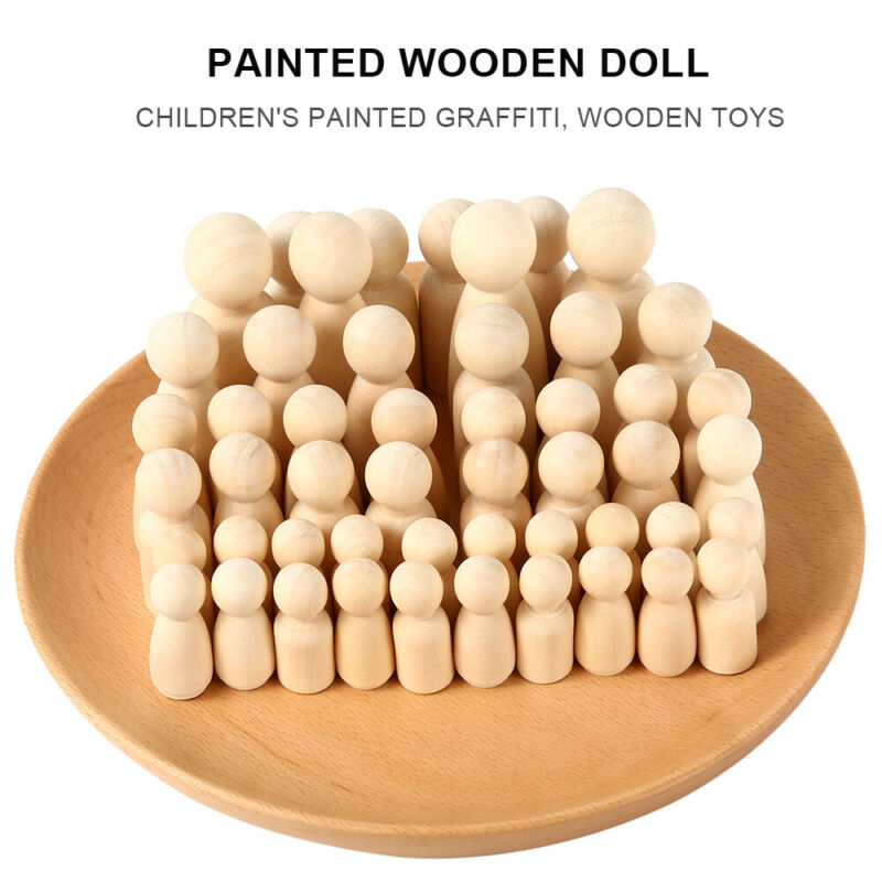 50PCS DIY Wooden Peg Doll Unfinished Family People Wedding Craft Man/Lady/Kids 5