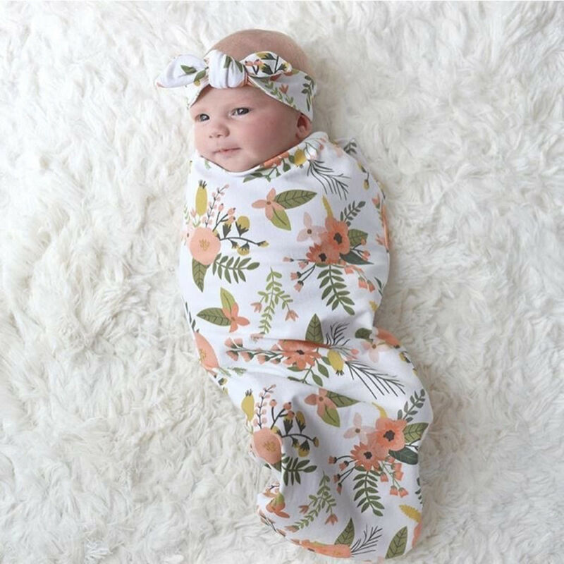 Newborn Baby Boy Cocoon Swaddle Blanket Sleeping Swaddle Muslin Wrap Hat Lovely 10