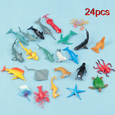 24X Plastic Ocean Animals Figure Sea Creatures Dolphin Turtle Whale Model Toys 2