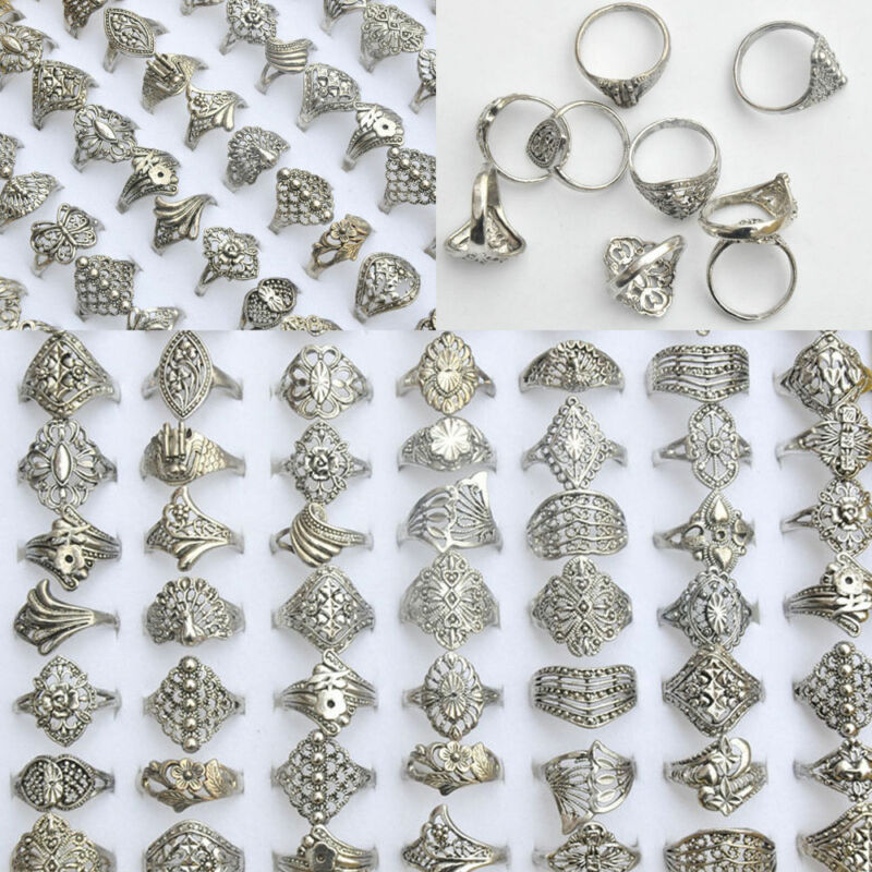 100/20Pcs Vintage Tibet Flower Silver Rings Wholesale Mixed Lots Costume Jewelry 3