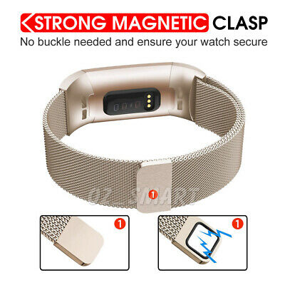 For Fitbit Charge 3 Band Metal Stainless Steel Milanese Loop Wristband Strap 3
