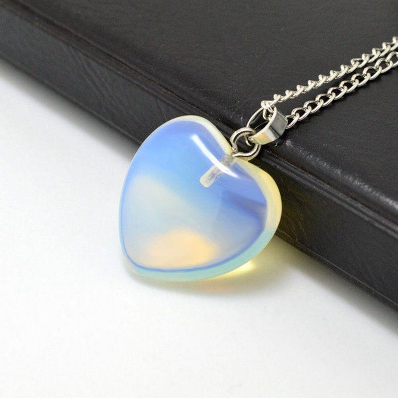 Natural Quartz Stone Gemstone Heart Rock Healing Point Chakra Pendant Necklace 4