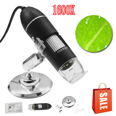 1600X 8LED 2MP USB Digital Microscope Endoscope Zoom Camera Magnifier With Stand 2