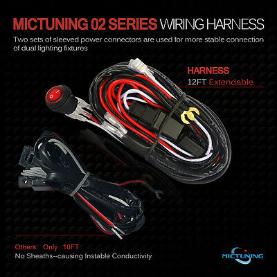 MICTUNING LED LIGHT Bar Wiring Harness, Fuse 40A Relay On-off Waterproof on